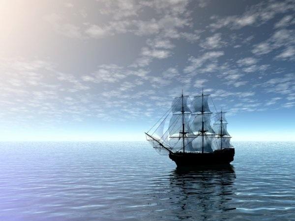 Рисунок море и парусник (8)