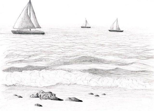 Рисунок море и парусник (9)