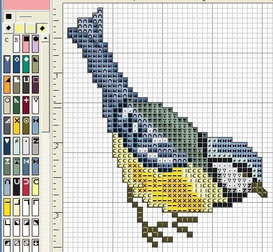 Рисунок птичка для вышивки (1)