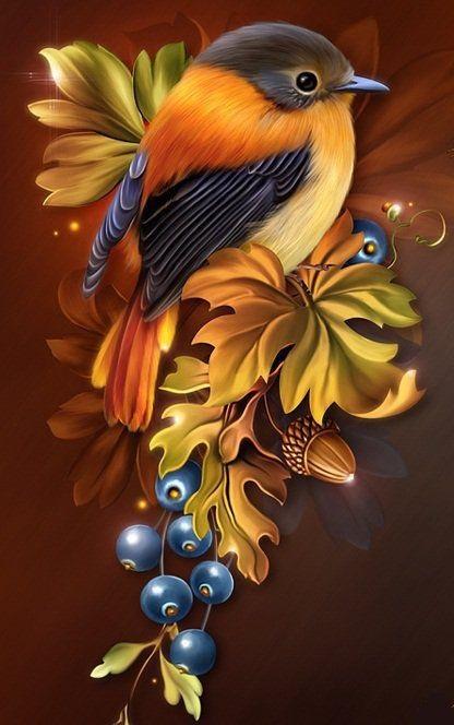 Рисунок птичка для вышивки (11)