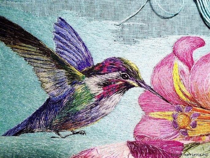 Рисунок птичка для вышивки (14)