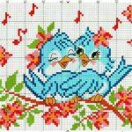 Рисунок птичка для вышивки