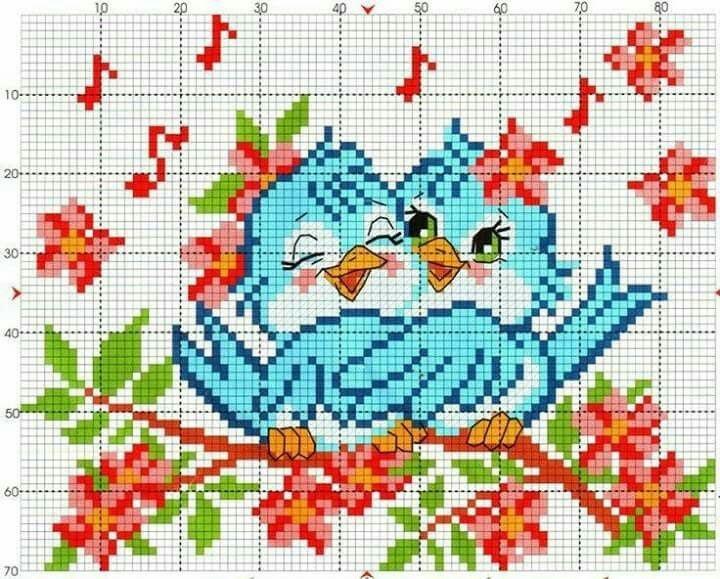 Рисунок птичка для вышивки (20)