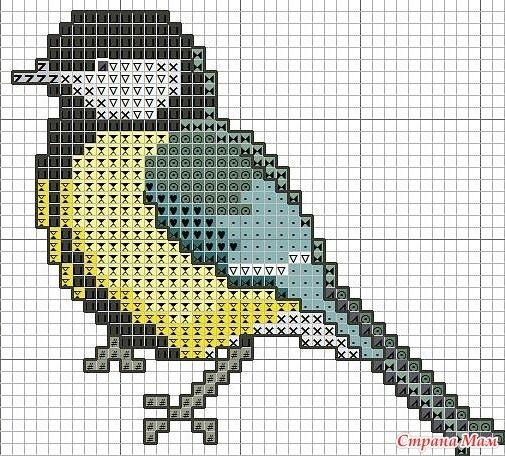 Рисунок птичка для вышивки (3)