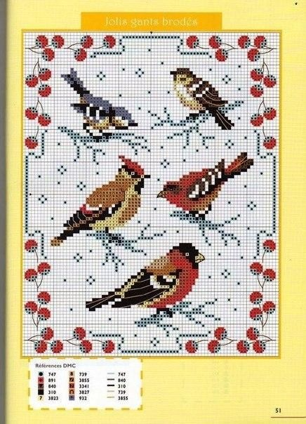 Рисунок птичка для вышивки (4)