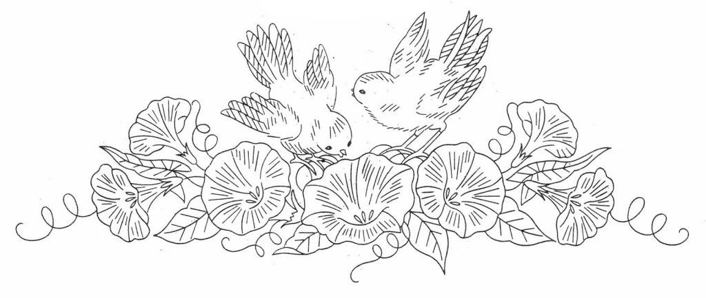 Рисунок птичка для вышивки (5)