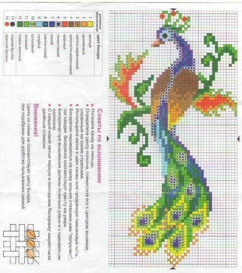 Рисунок птичка для вышивки (6)