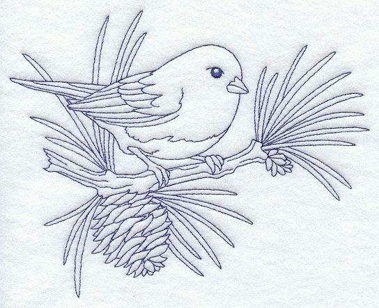 Рисунок птичка для вышивки (7)