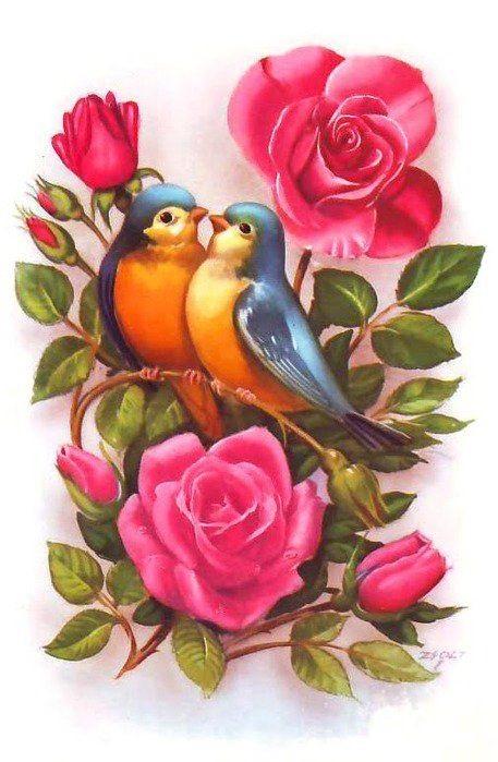 Рисунок птичка для вышивки (8)