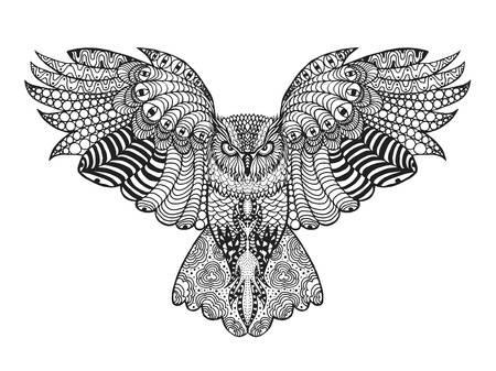 Рисунок совы в графике (3)
