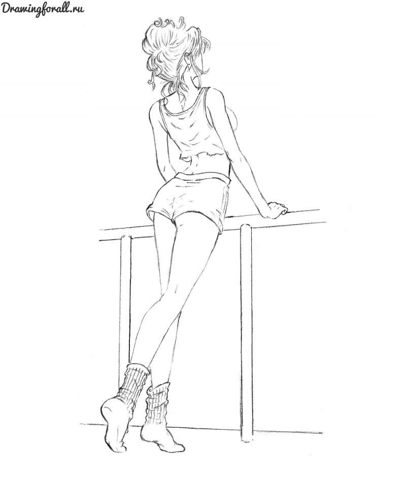 Картинки для срисовки девушки в шортах (13)