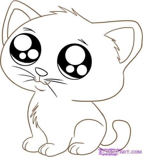 Картинки для срисовки котята милые (28)