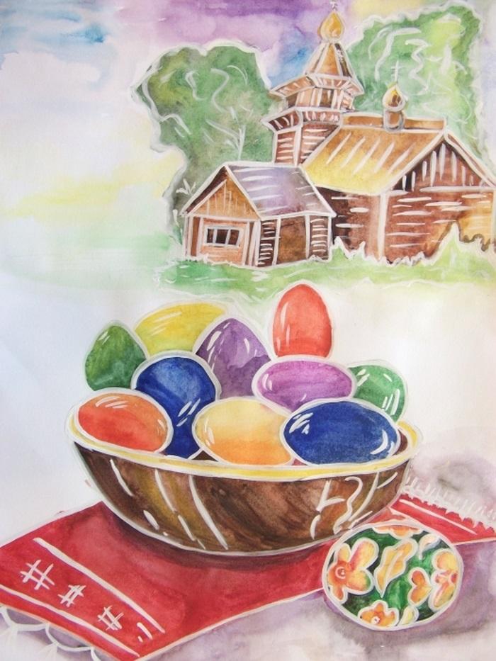 Красивые рисунки для детей на тему Пасхи (27)
