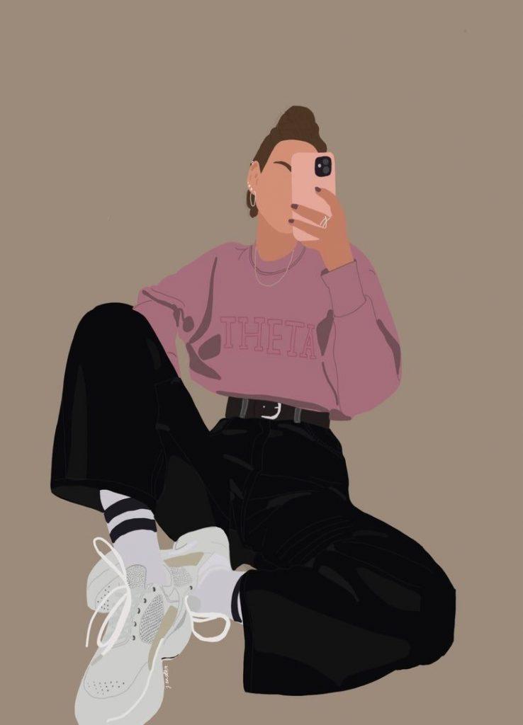 Красивые рисунки карандашом девушка в наушниках (13)