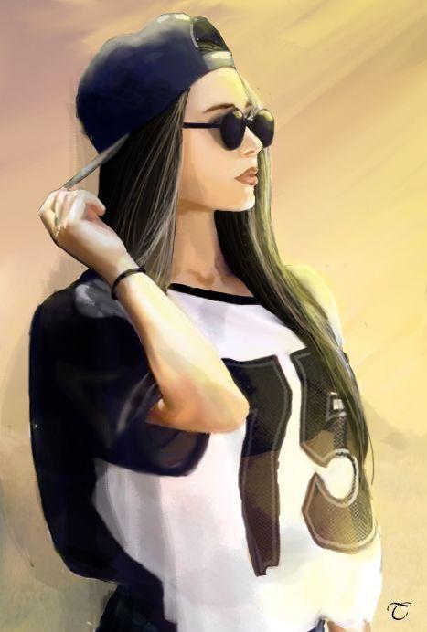 Красивые рисунки карандашом девушка в наушниках (14)