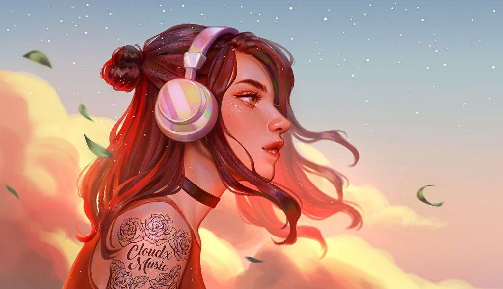 Красивые рисунки карандашом девушка в наушниках (26)