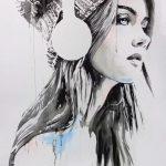 Красивые рисунки карандашом девушка в наушниках