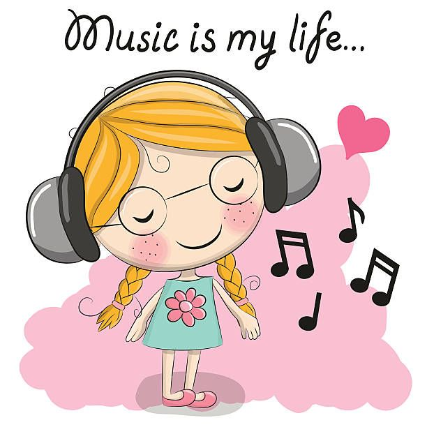 Cute cartoon Girl with headphones and heart