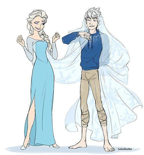 Эльза и Джек картинки их любви, красивые скетчы (13)