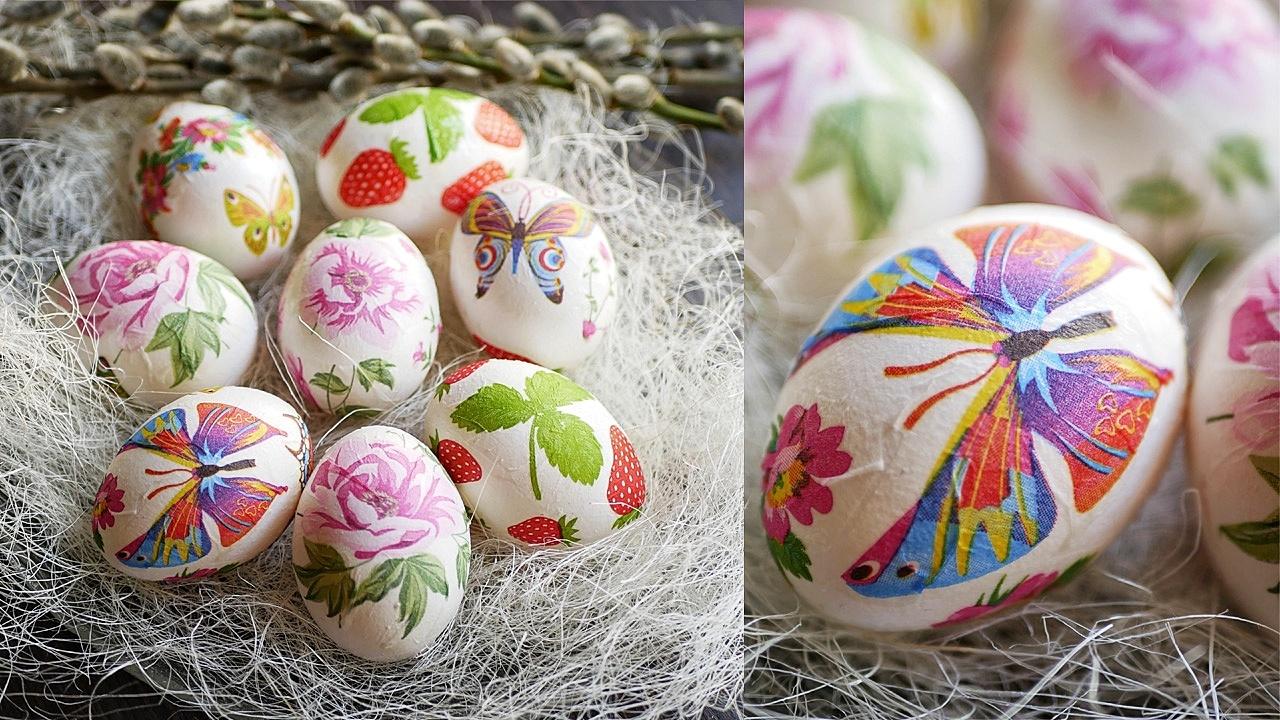 окрашивания яиц на Пасху Декупаж салфетками