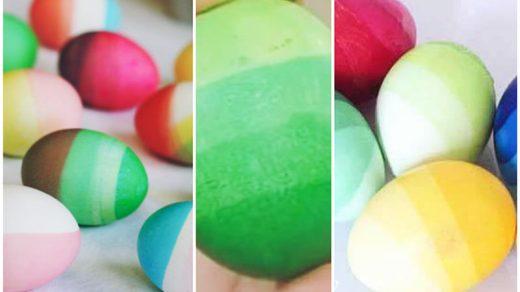 окрашивания яиц на Пасху Эффект омбре