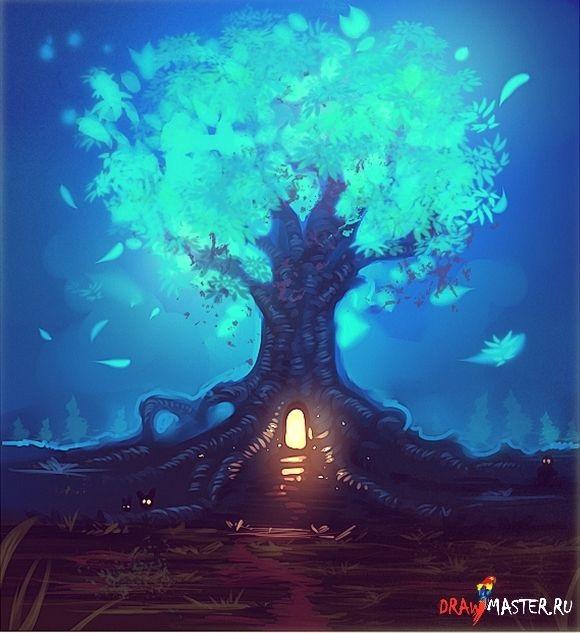 Волшебное дерево нарисовать карандашом, идеи (10)