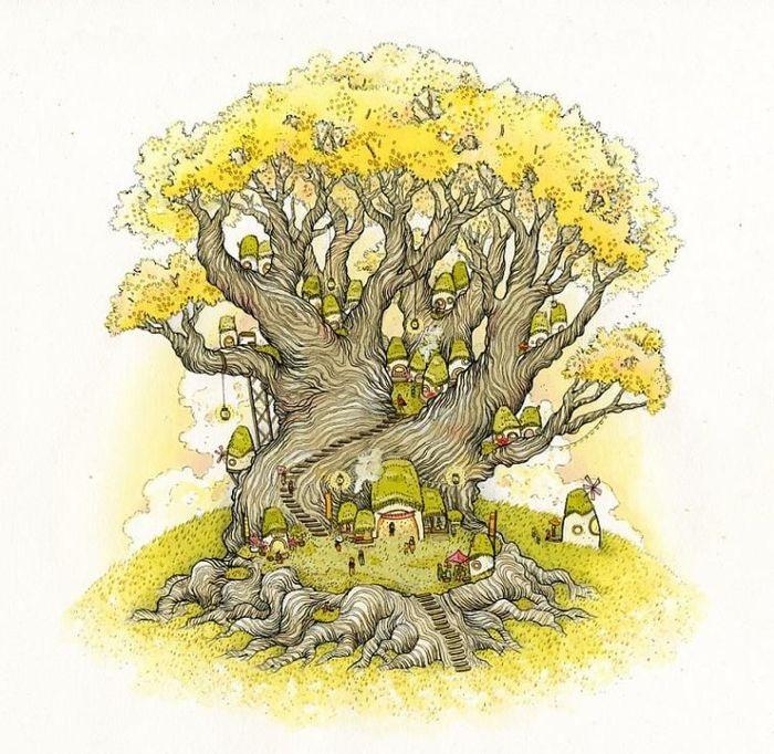 Волшебное дерево нарисовать карандашом, идеи (26)