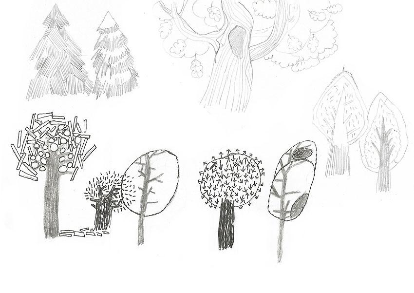 Волшебное дерево нарисовать карандашом, идеи (3)
