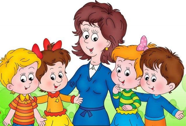 Красивый рисунок дети и воспитатель (1)