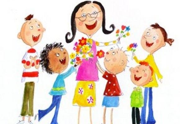 Красивый рисунок дети и воспитатель (12)