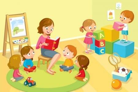 Красивый рисунок дети и воспитатель (16)