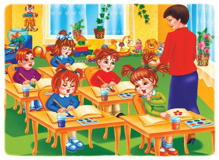 Красивый рисунок дети и воспитатель (18)
