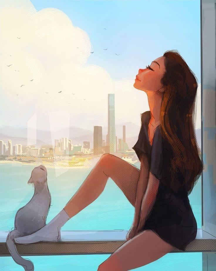 Красивый рисунок на аву девушки (23)