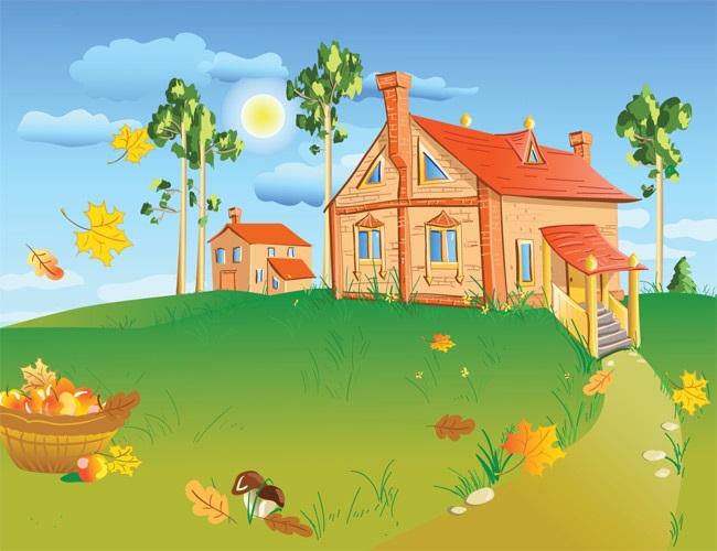 Домик в деревне картинки для детей для рисования (1)