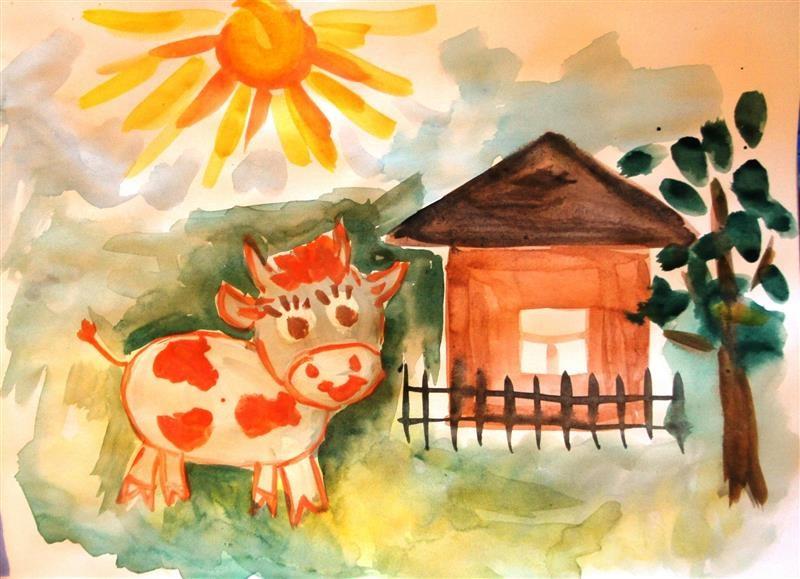 Домик в деревне картинки для детей для рисования (13)