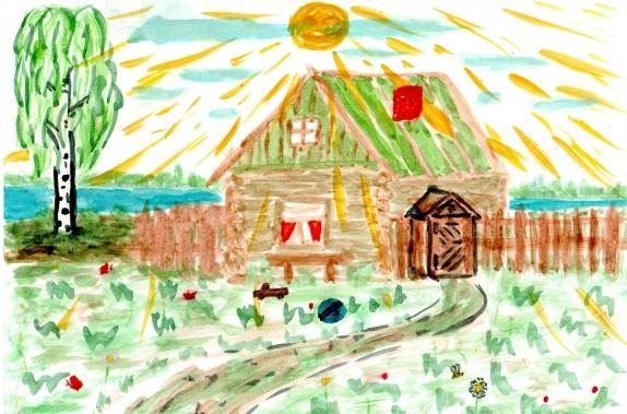 Домик в деревне картинки для детей для рисования (17)
