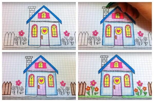 Домик в деревне картинки для детей для рисования (19)