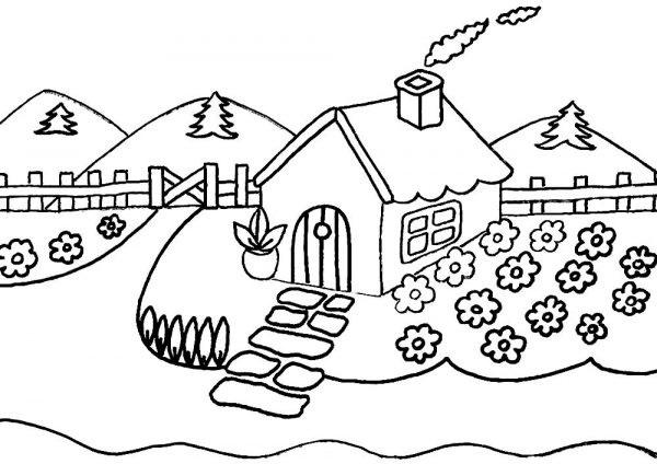 Домик в деревне картинки для детей для рисования (5)