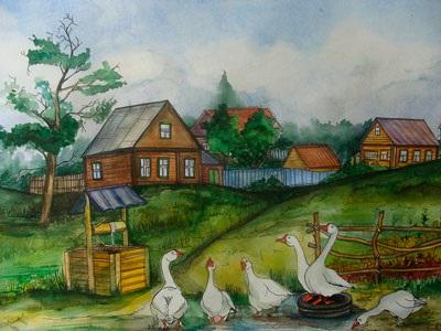 Домик в деревне картинки для детей для рисования (9)