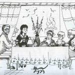 Красивый рисунок семья за столом карандашом