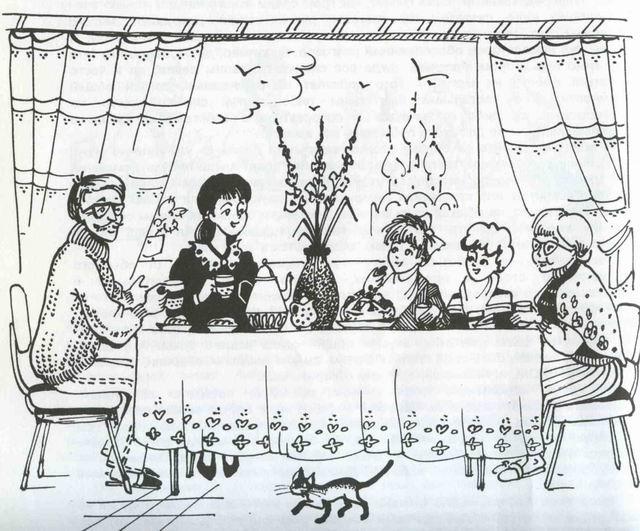Красивый рисунок семья за столом карандашом (10)