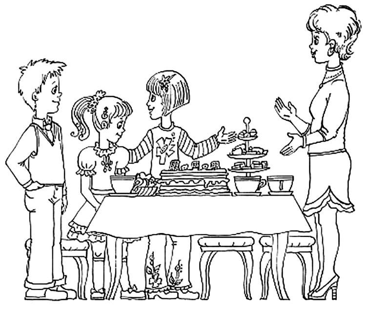 Красивый рисунок семья за столом карандашом (11)