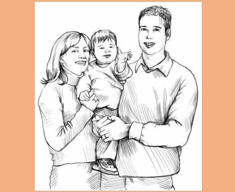 Красивый рисунок семья за столом карандашом (13)