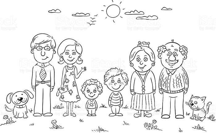 Красивый рисунок семья за столом карандашом (14)