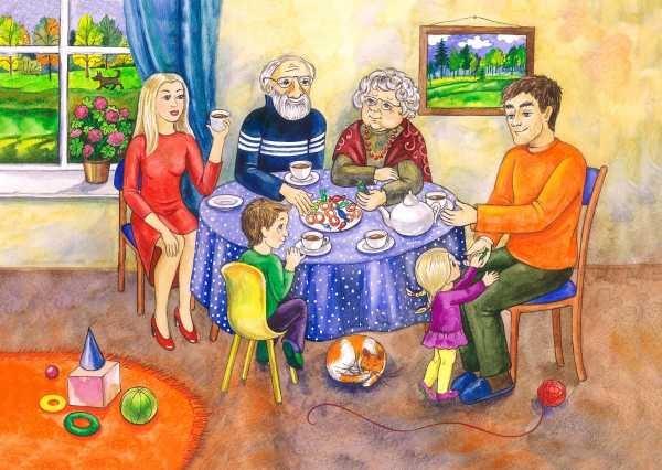 Красивый рисунок семья за столом карандашом (15)