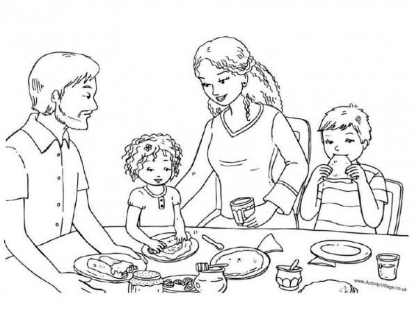 Красивый рисунок семья за столом карандашом (17)