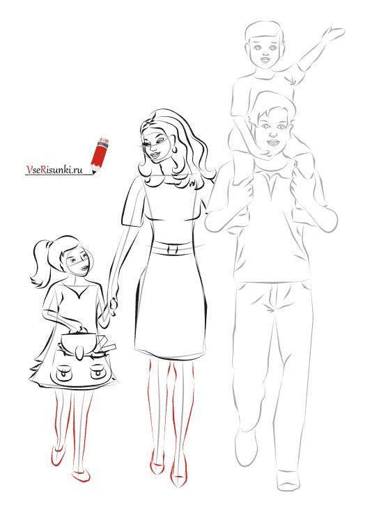 Красивый рисунок семья за столом карандашом (19)