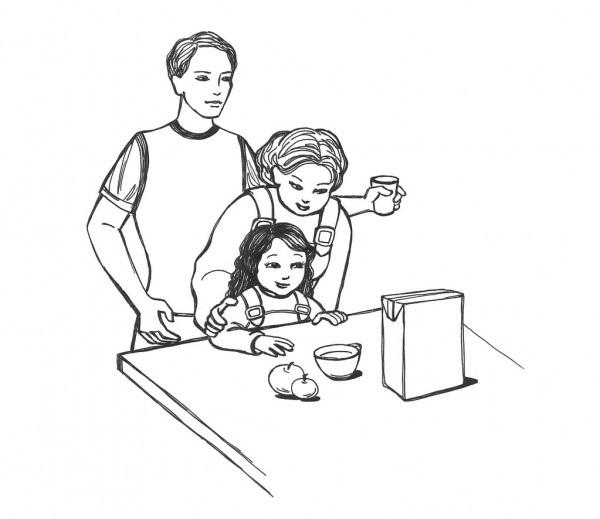 Красивый рисунок семья за столом карандашом (2)