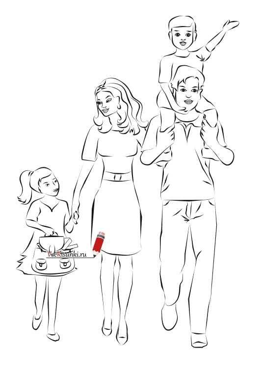 Красивый рисунок семья за столом карандашом (20)