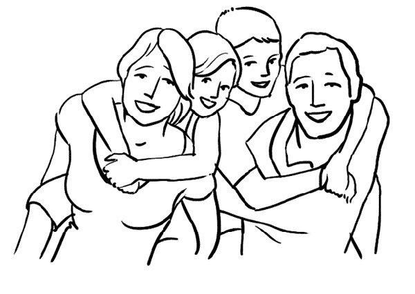 Красивый рисунок семья за столом карандашом (22)